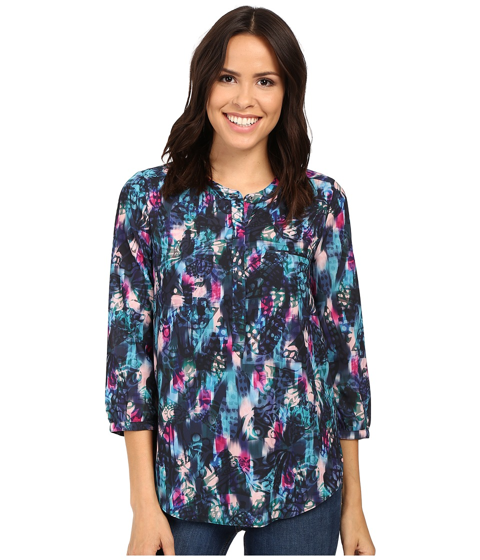 NYDJ - 3/4 Sleeve Pleat Back (Dazzling Butterflies Blue Violets) Women's Blouse
