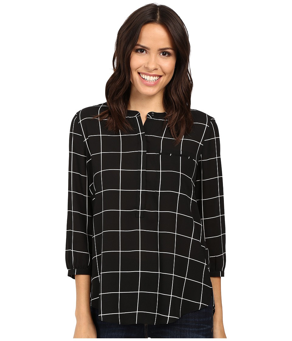 NYDJ - 3/4 Sleeve Pleat Back (Black Windowpane) Women's Blouse