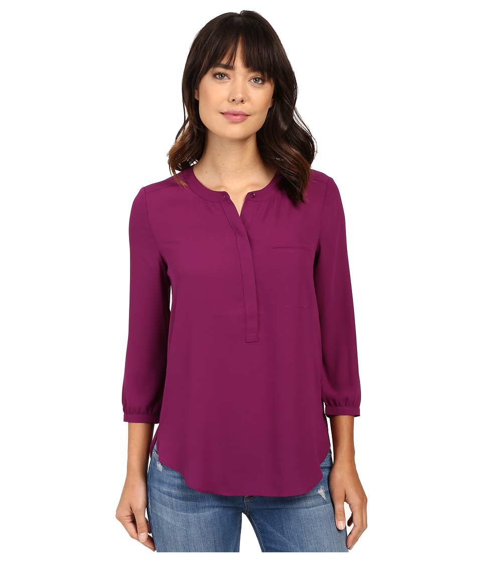 NYDJ - 3/4 Sleeve Pleat Back (Dark Currant) Women's Blouse