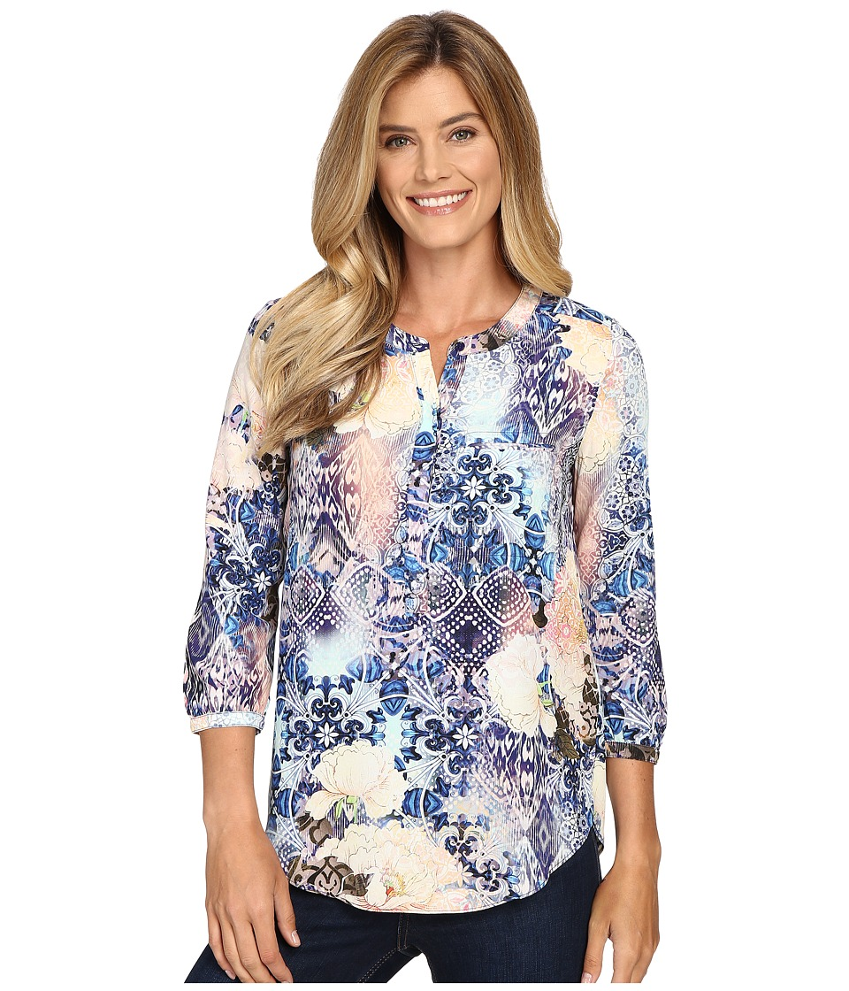 NYDJ - 3/4 Sleeve Pleat Back (Morroccan Rose Blue Velvet) Women's Blouse