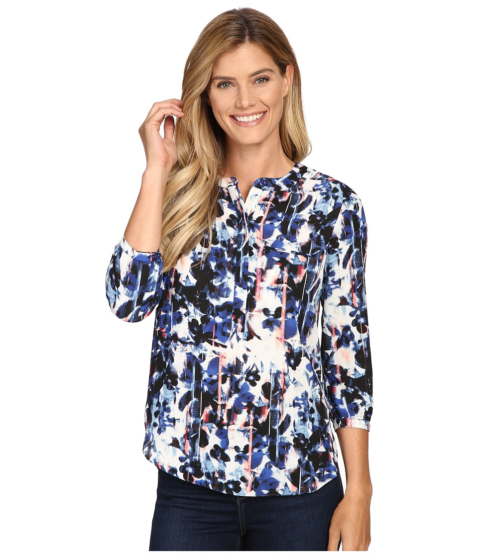 NYDJ - 3/4 Sleeve Pleat Back (Bohemia Bouquet Nightshade Blue) Women's Blouse