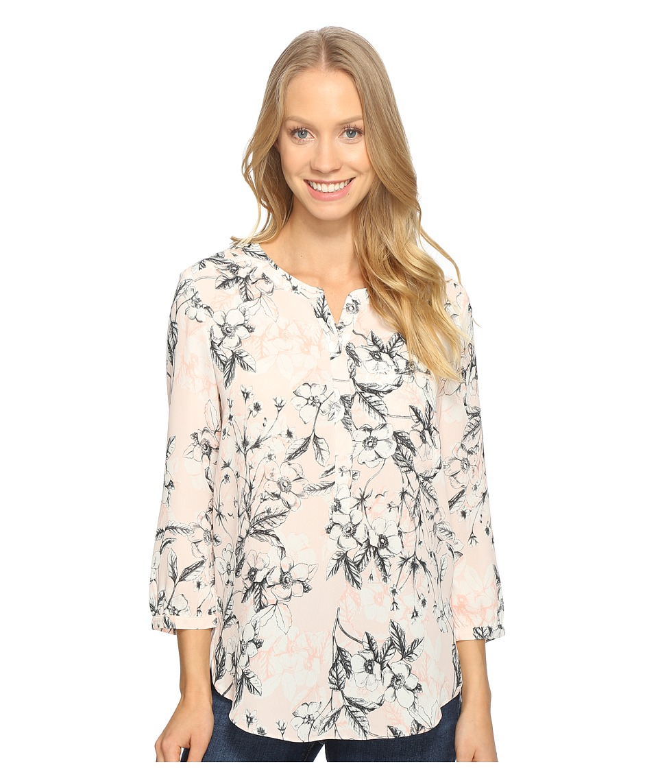 NYDJ - 3/4 Sleeve Pleat Back (Botanical Etchings Pink Chiffon) Women's Blouse