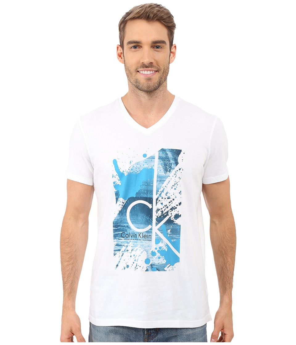 Calvin Klein - Short Sleeve CK Splatter Paint Tee (White) Men's T Shirt