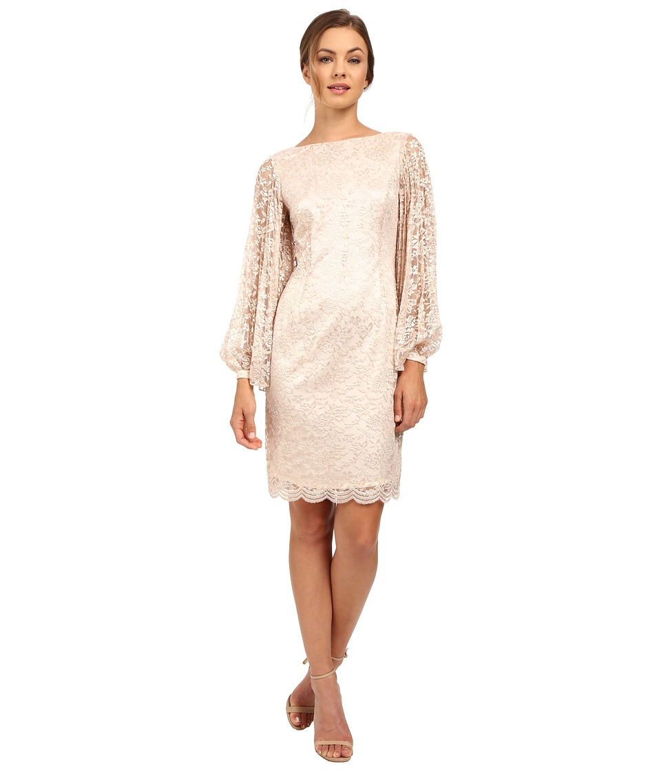 Tahari by ASL - Lace Pleated Sleeve (Champagne Gold) Women's Dress