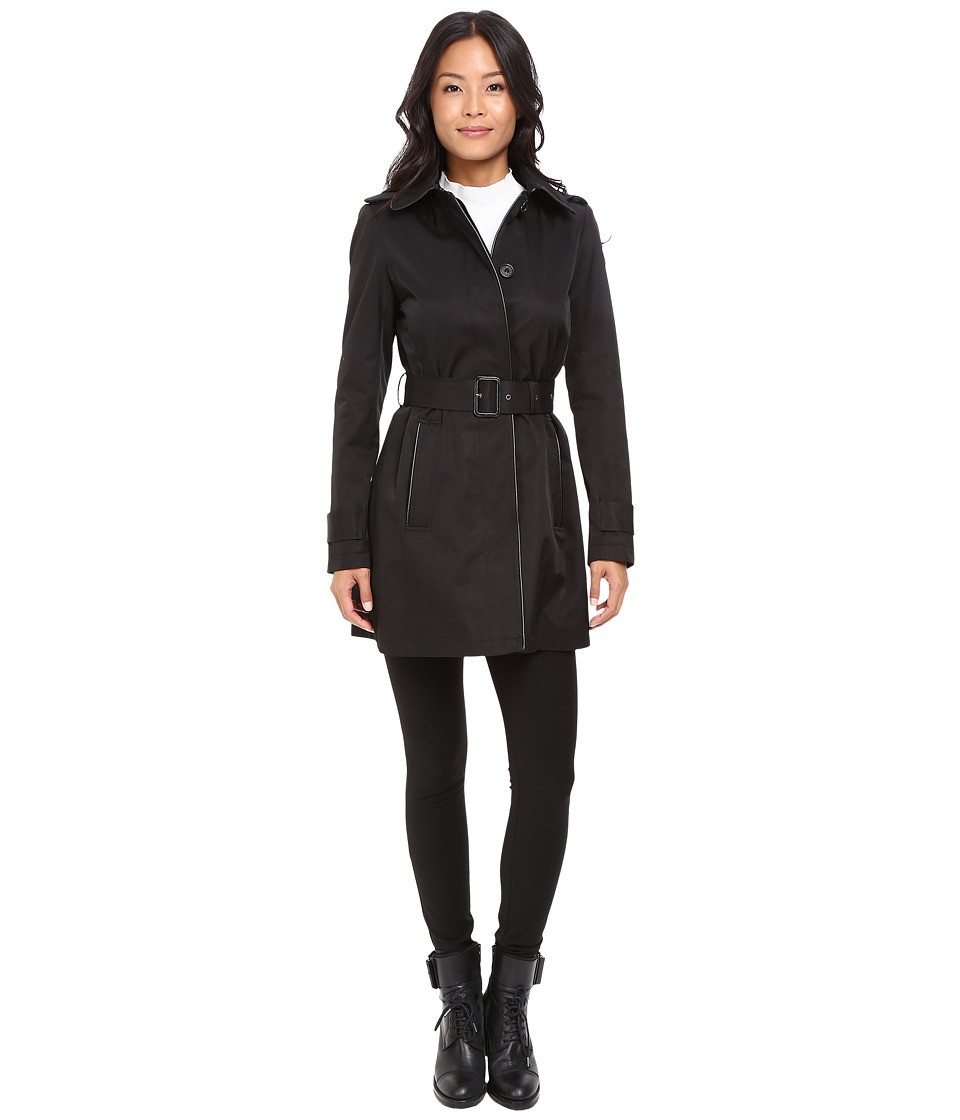 LAUREN Ralph Lauren Faux Leather Piped Hooded Rain (Black) Women