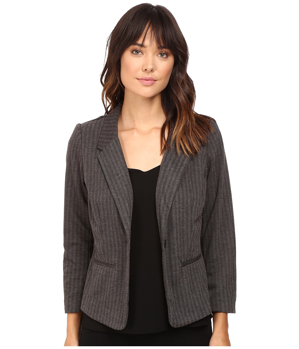 kensie - Stretch Herringbone Blazer KS9K2220 (Heather Dark Grey Combo) Women's Jacket
