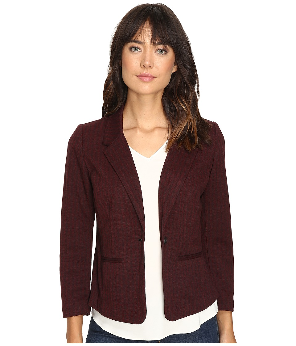 kensie - Stretch Herringbone Blazer KS9K2220 (Wine Combo) Women's Jacket