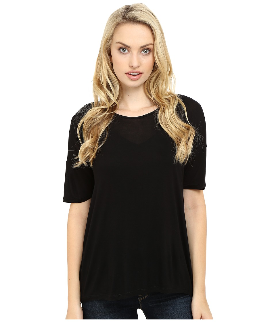 kensie - Sheer Viscose Tee Top KS2K3401 (Black) Women's T Shirt