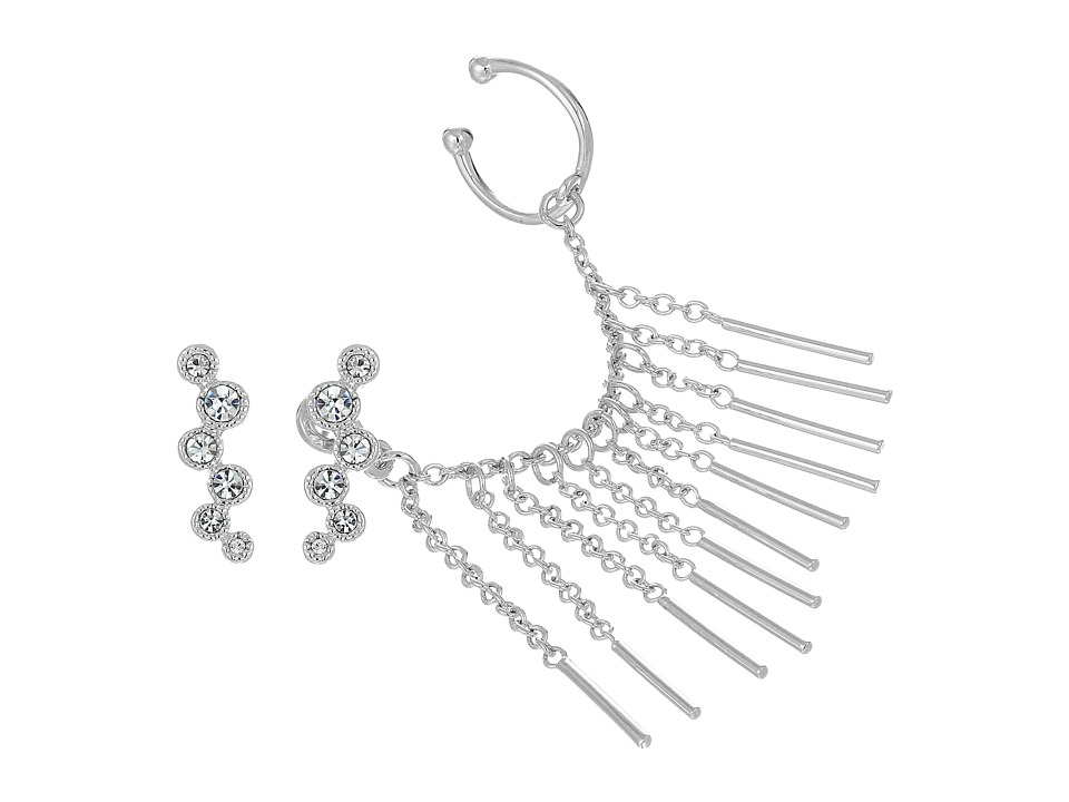 Vince Camuto - Asymmetric Earrings and Ear Jacket (Light Rhodium/Crystal) Earring