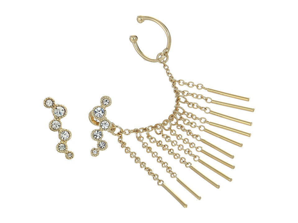 Vince Camuto - Asymmetric Earrings and Ear Jacket (Gold/Crystal) Earring