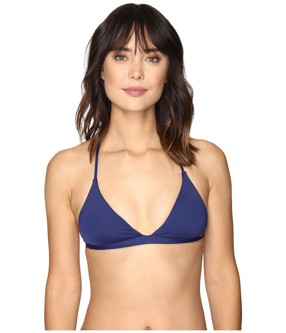 Roxy - Strappy Love Reversible Fixed Tri Bikini Top (Marine) Women's Swimwear