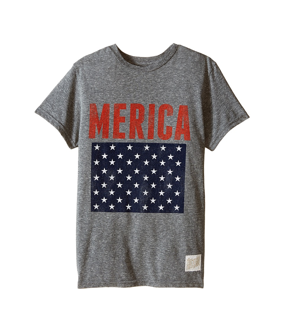 The Original Retro Brand Kids - Merica Short Sleeve Vintage Cotton Tee (Little Kids/Big Kids) (Streaky Grey) Boy's T Shirt