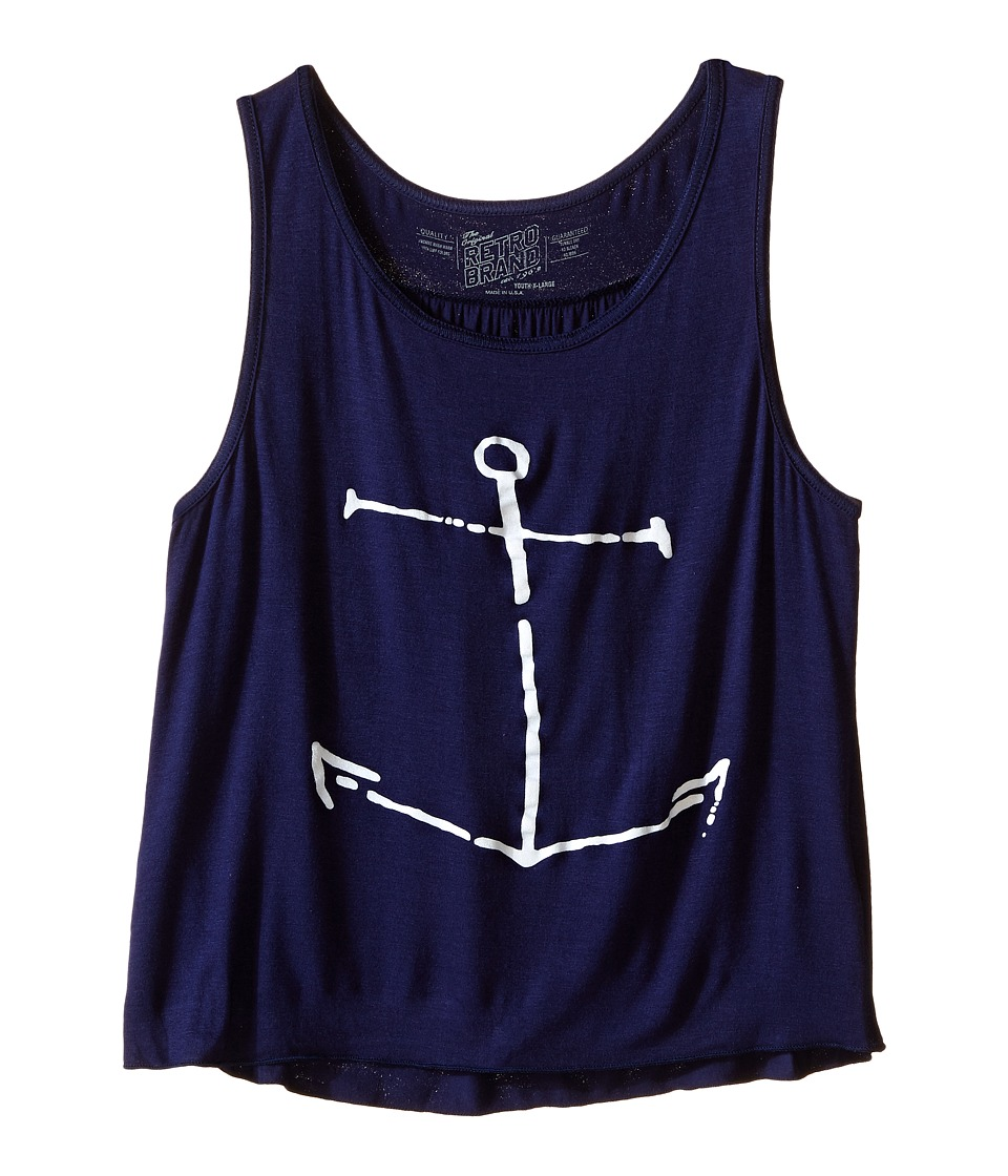 The Original Retro Brand Kids - Anchor Rayon Swingy Tank Top (Little Kids/Big Kids) (Rayon Navy) Girl's Sleeveless