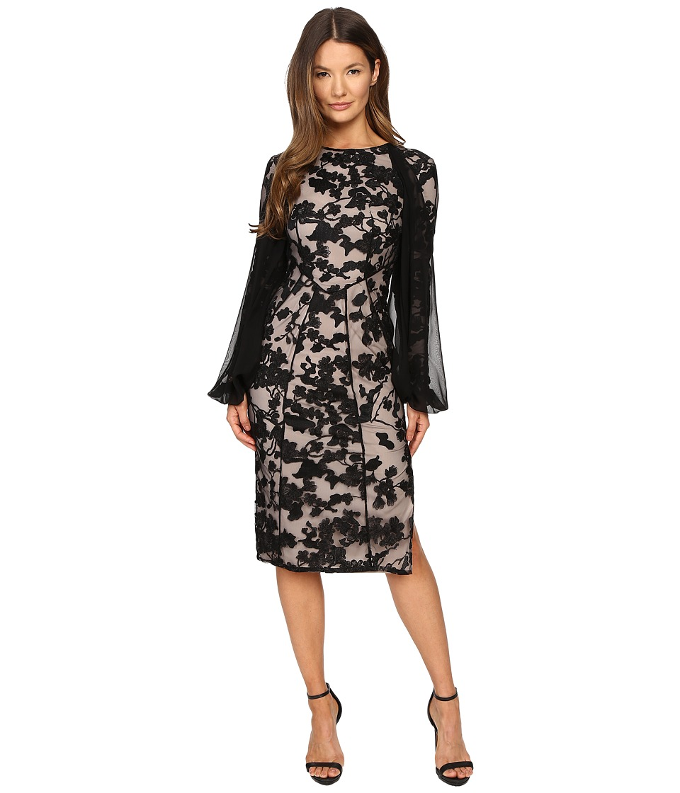 Gabriela Cadena - Paneled Lace Cocktail Dress with Chiffon Sleeve Overlay (Black) Women's Dress