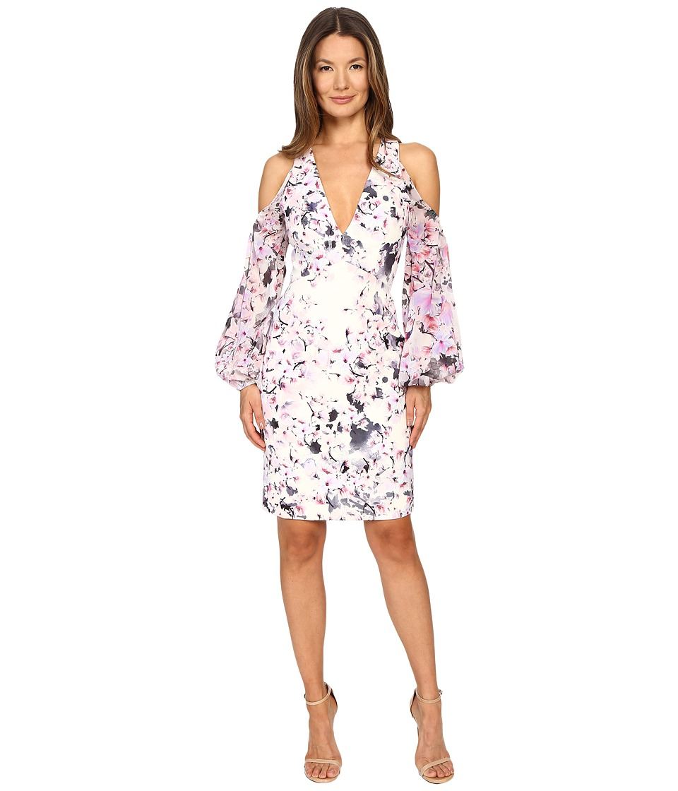 Gabriela Cadena - Printed Crepe Cocktail Dress with Ruched Georgette Sleeve (Magnolia Pink) Women's Dress