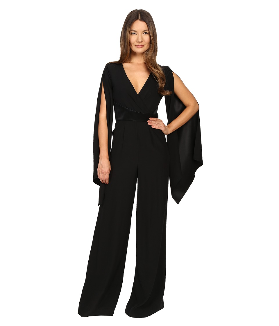 Gabriela Cadena - Crepe Jumpsuit with Satin Waist and Cape Sleeve (Black) Women's Jumpsuit & Rompers One Piece