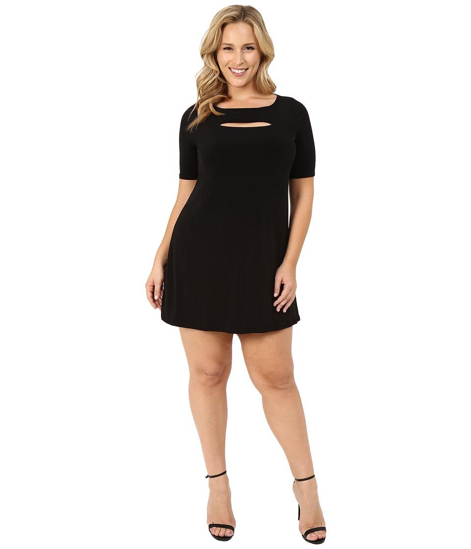 Christin Michaels - Plus Size Jan Peekaboo Dress (Black) Women's Dress