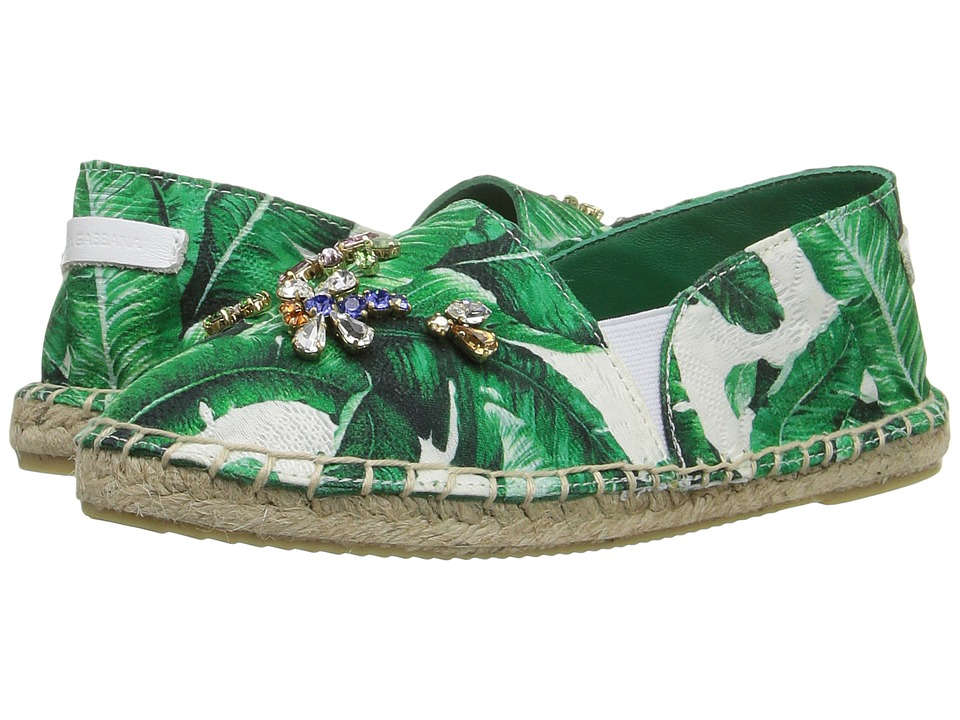 Dolce & Gabbana Kids - Botanical Garden Banana Leaf Espadrille (Toddler/Little Kid/Big Kid) (White) Girls Shoes