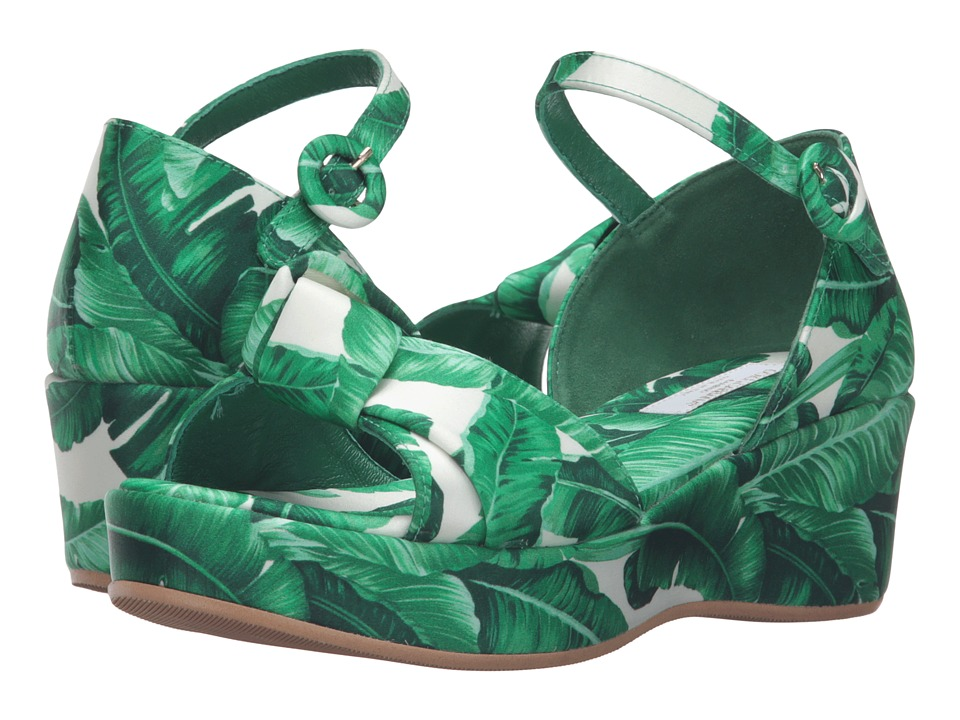 Dolce & Gabbana Kids - Botanical Garden Banana Leaf Wedge (Little Kid/Big Kid) (White) Girls Shoes