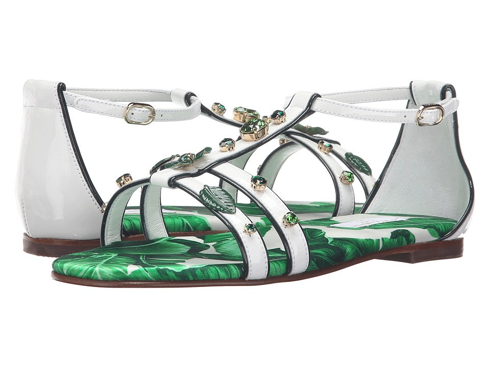 Dolce & Gabbana Kids - Botanical Garden Jeweled Sandal (Little Kid/Big Kid) (White) Girls Shoes