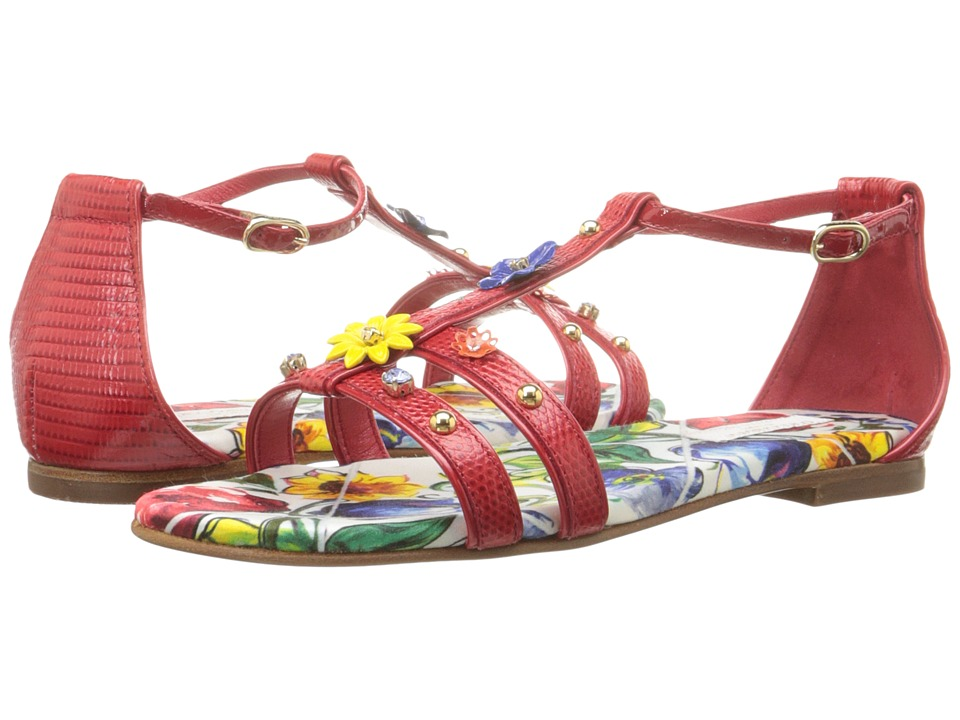 Dolce & Gabbana Kids - Escape Jeweled Sandal (Little Kid/Big Kid) (Rosso) Girls Shoes