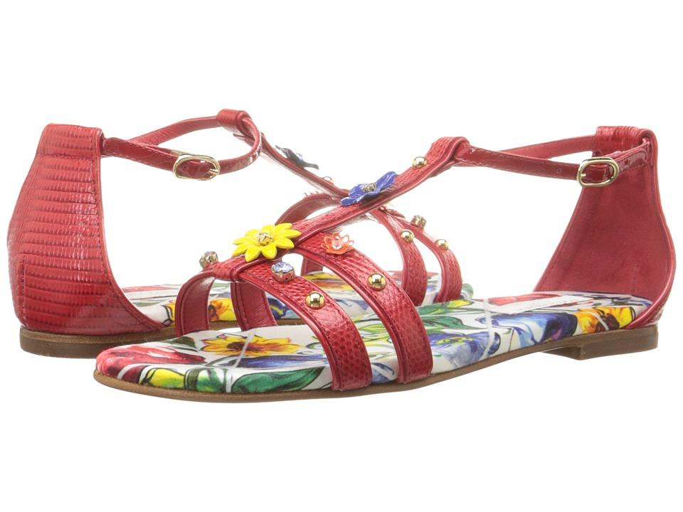 Dolce & Gabbana Kids Escape Jeweled Sandal (Little Kid/Big Kid) (Rosso) Girls Shoes