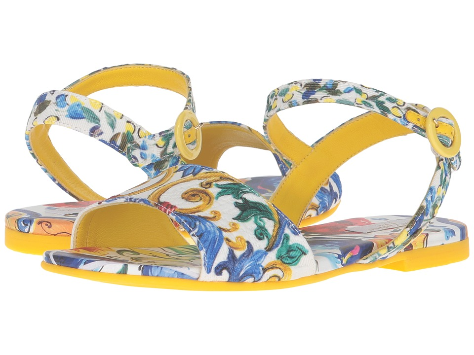 Dolce & Gabbana Kids - Escape Maiolica Floral Sandal (Little Kid/Big Kid) (Print) Girls Shoes