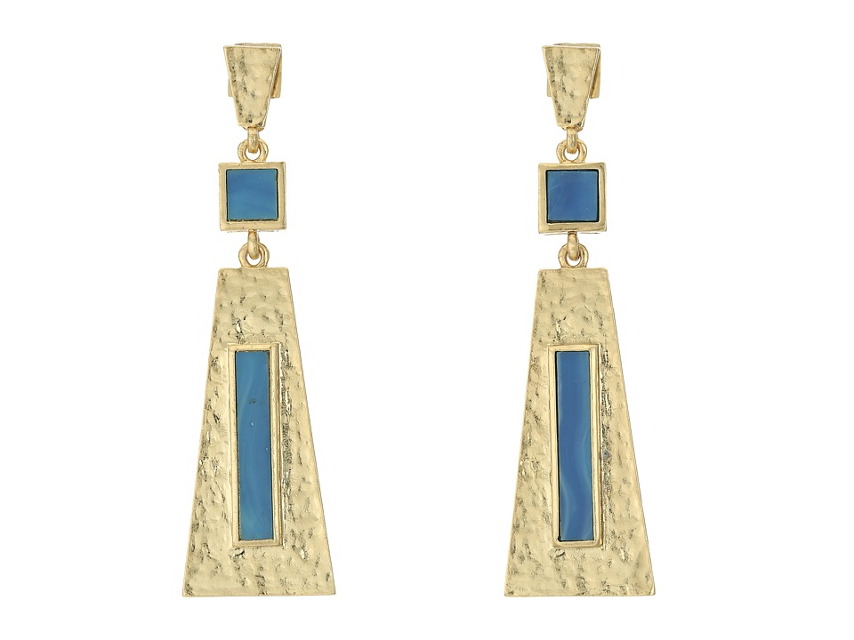 Vince Camuto - Textured Three Part Drop Earrings (Antique Gold/Blue Swirl) Earring