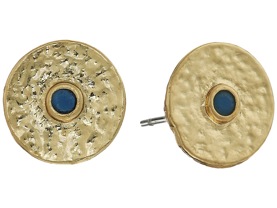 Vince Camuto - Round Disc Studs Earrings (Antique Gold/Blue) Earring
