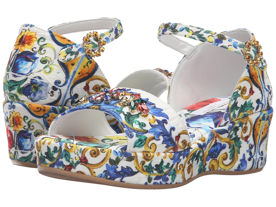 Dolce & Gabbana Kids Escape Maiolica Floral Wedge (Little Kid/Big Kid) (Print) Girls Shoes