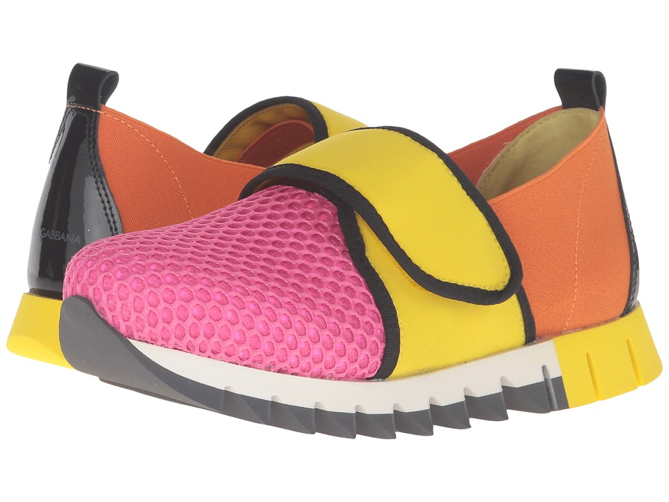 Dolce & Gabbana Kids - City Hook and Loop Sneaker (Little Kid/Big Kid) (Rosa/Yellow) Girl's Shoes