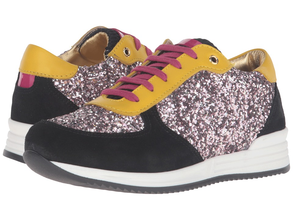 Dolce & Gabbana Kids - Escape Sequin Low Top Sneaker (Little Kid/Big Kid) (Black/Pink) Girl's Shoes