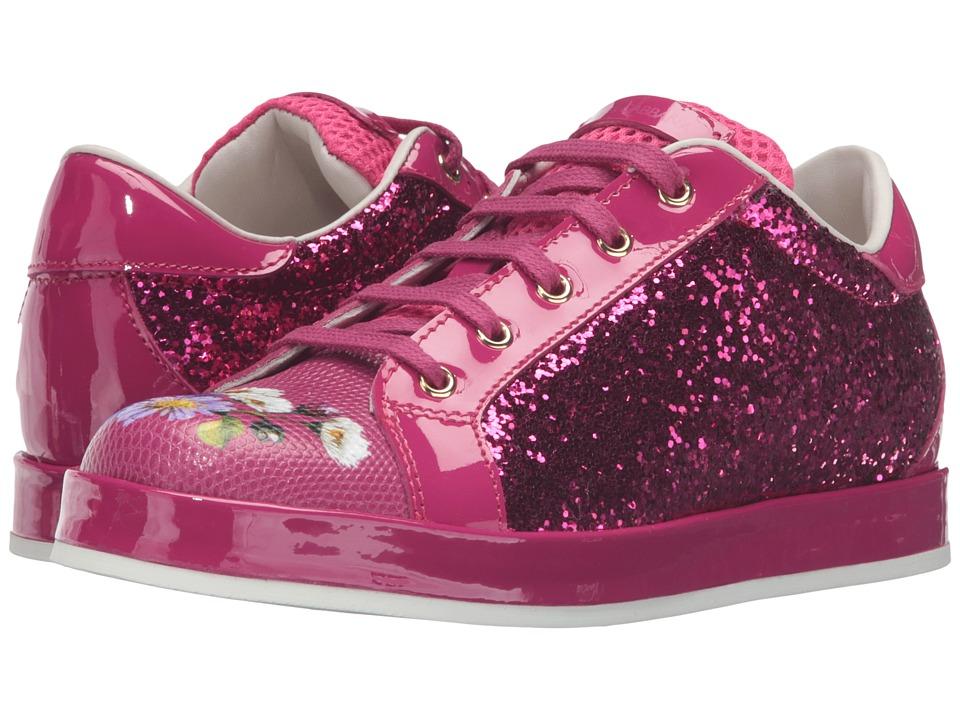 Dolce & Gabbana Kids - Low Top Sequin/Floral Sneaker (Little Kid/Big Kid) (Fuchsia) Girl's Shoes