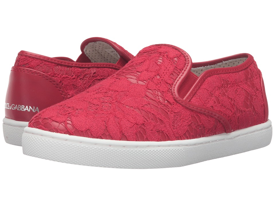 Dolce & Gabbana Kids - Escape Lace Slip-On Sneaker (Little Kid/Big Kid) (Red) Girl's Shoes