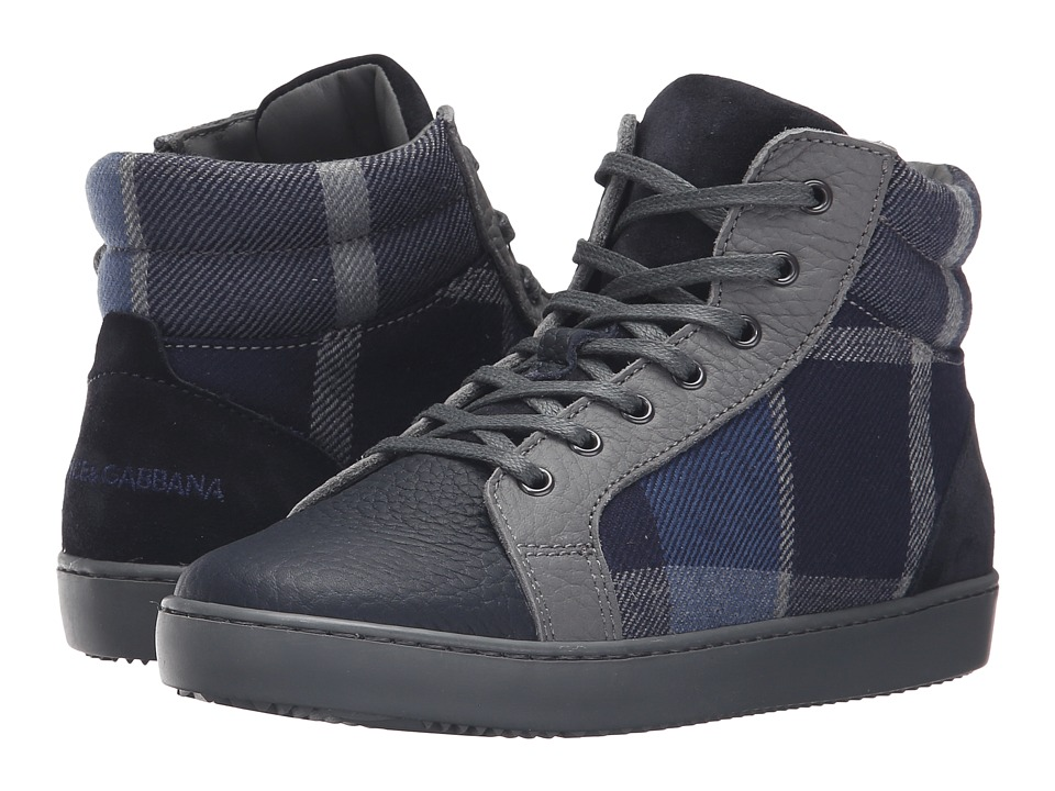 Dolce & Gabbana Kids - Back to School Check Tartan High Top Sneaker (Little Kid/Big Kid) (Tartan) Boy's Shoes