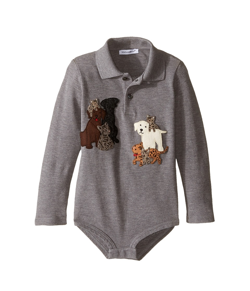 Dolce & Gabbana Kids - Patch Canine One-Piece (Infant) (Grey Melange) Boy's Jumpsuit & Rompers One Piece