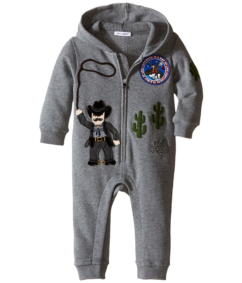 Dolce & Gabbana Kids - City Cowboy One-Piece (Infant) (Grey Melange) Boy's Jumpsuit & Rompers One Piece