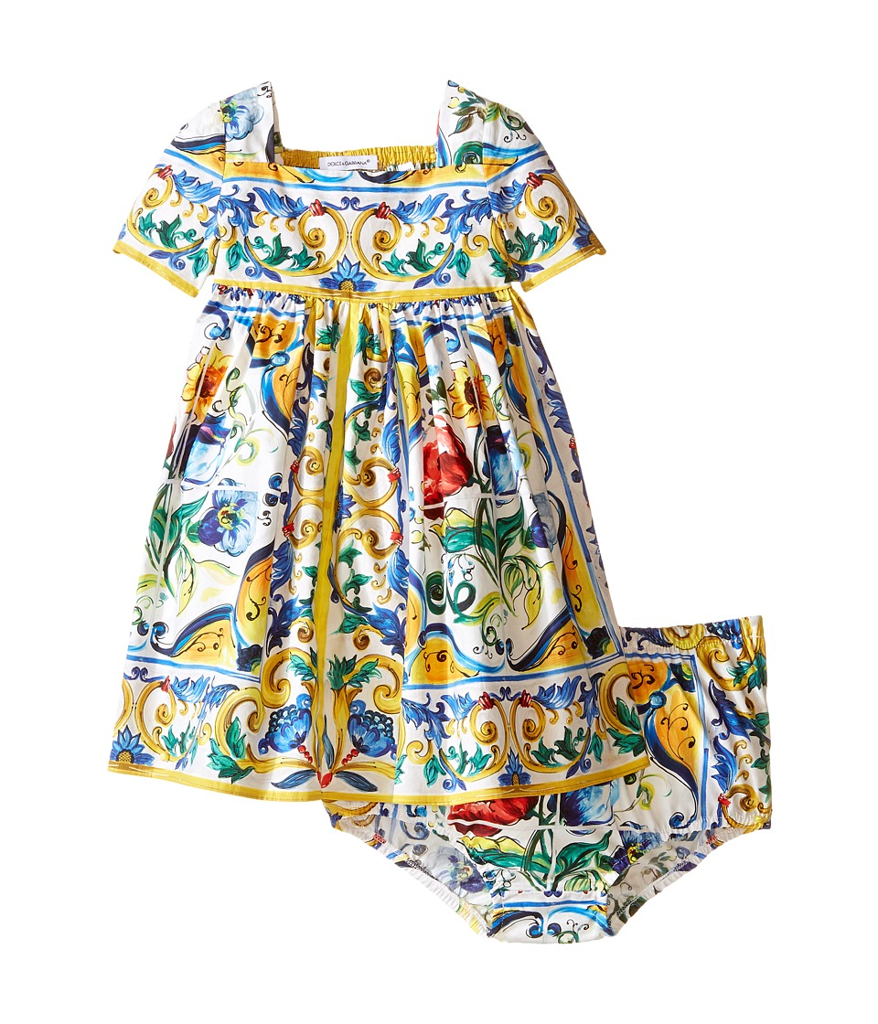 Dolce & Gabbana Kids - Escape Maiolica Ornamental Dress (Infant) (White Print) Girl's Dress