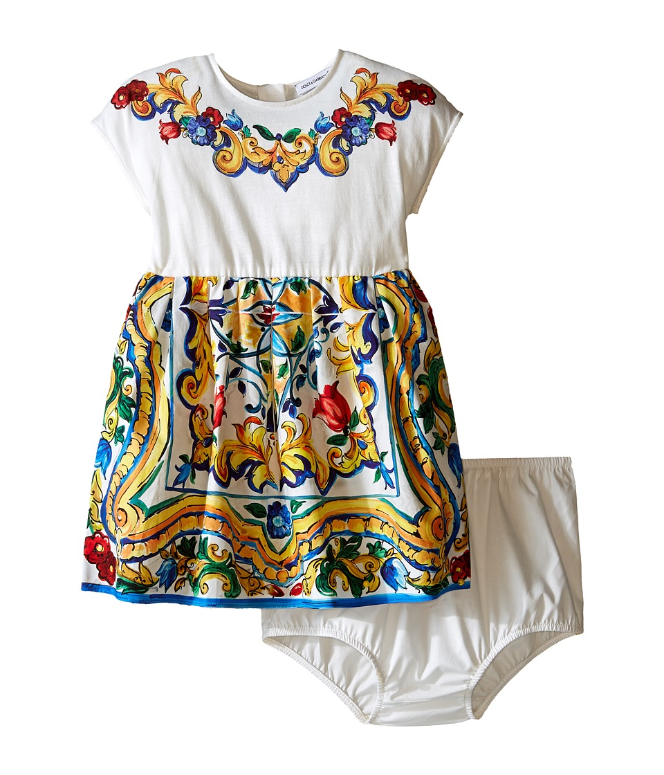 Dolce & Gabbana Kids - Escape Maiolica Jersey/Poplin Dress (Infant) (White Print) Girl's Dress