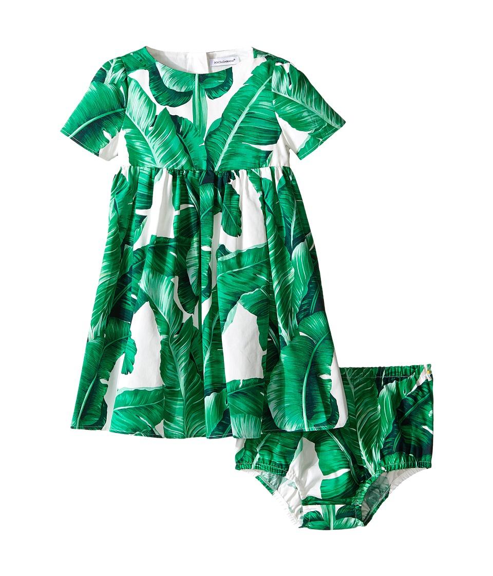 Dolce & Gabbana Kids - Botanical Garden Banana Print Dress (Infant) (White) Girl's Dress