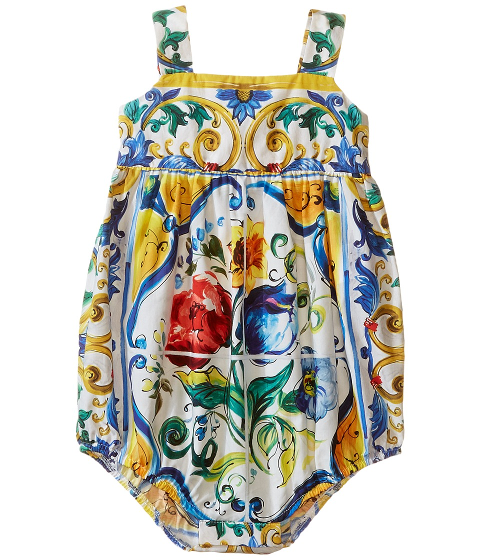 Dolce & Gabbana Kids - Escape Maiolica Bouquet One-Piece (Infant) (White Print) Girl's Jumpsuit & Rompers One Piece