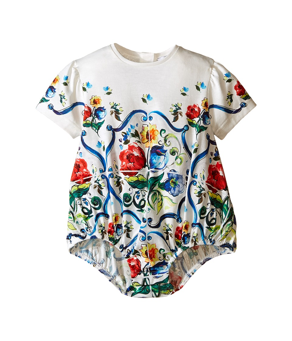 Dolce & Gabbana Kids - Escape Maiolica Print One-Piece (Infant) (White) Girl's Jumpsuit & Rompers One Piece