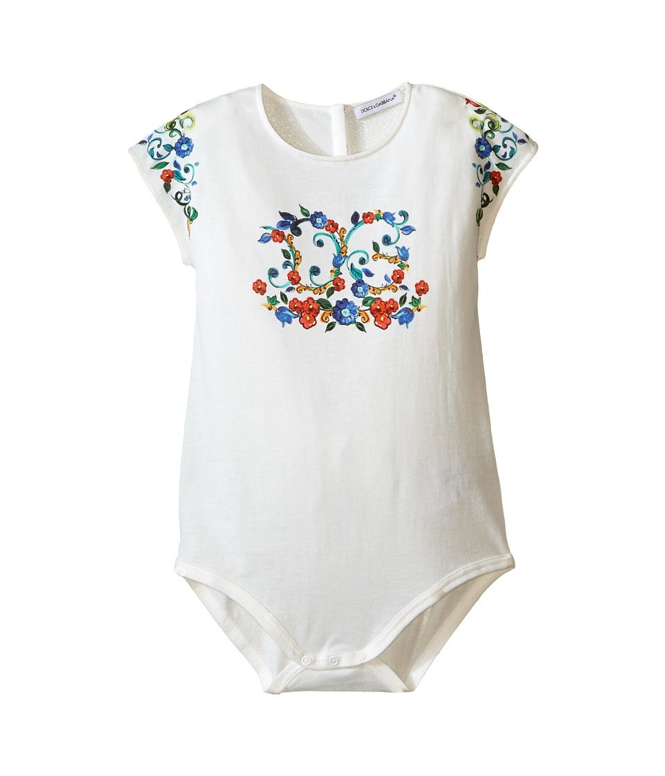 Dolce & Gabbana Kids - Escape Maiolica Logo One-Piece (Infant) (White) Girl's Jumpsuit & Rompers One Piece