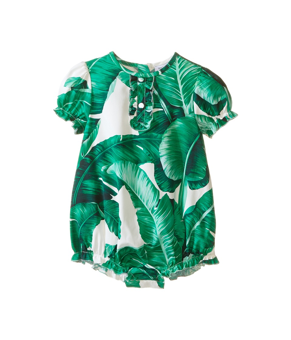 Dolce & Gabbana Kids - Botanical Garden Banana Print One-Piece (Infant) (White) Girl's Jumpsuit & Rompers One Piece