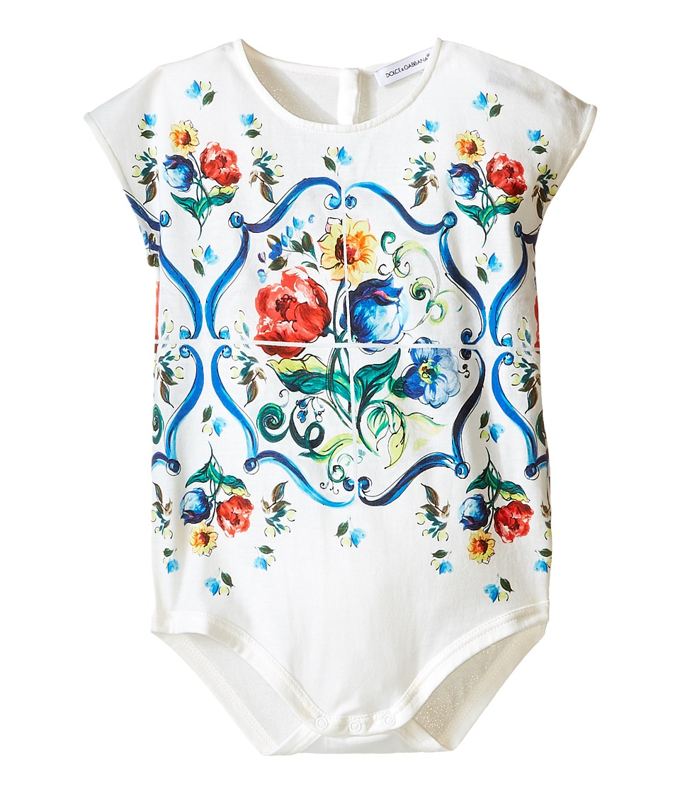 Dolce & Gabbana Kids - Escape Maiolica Floral Jersey One-Piece (Infant) (White) Girl's Jumpsuit & Rompers One Piece