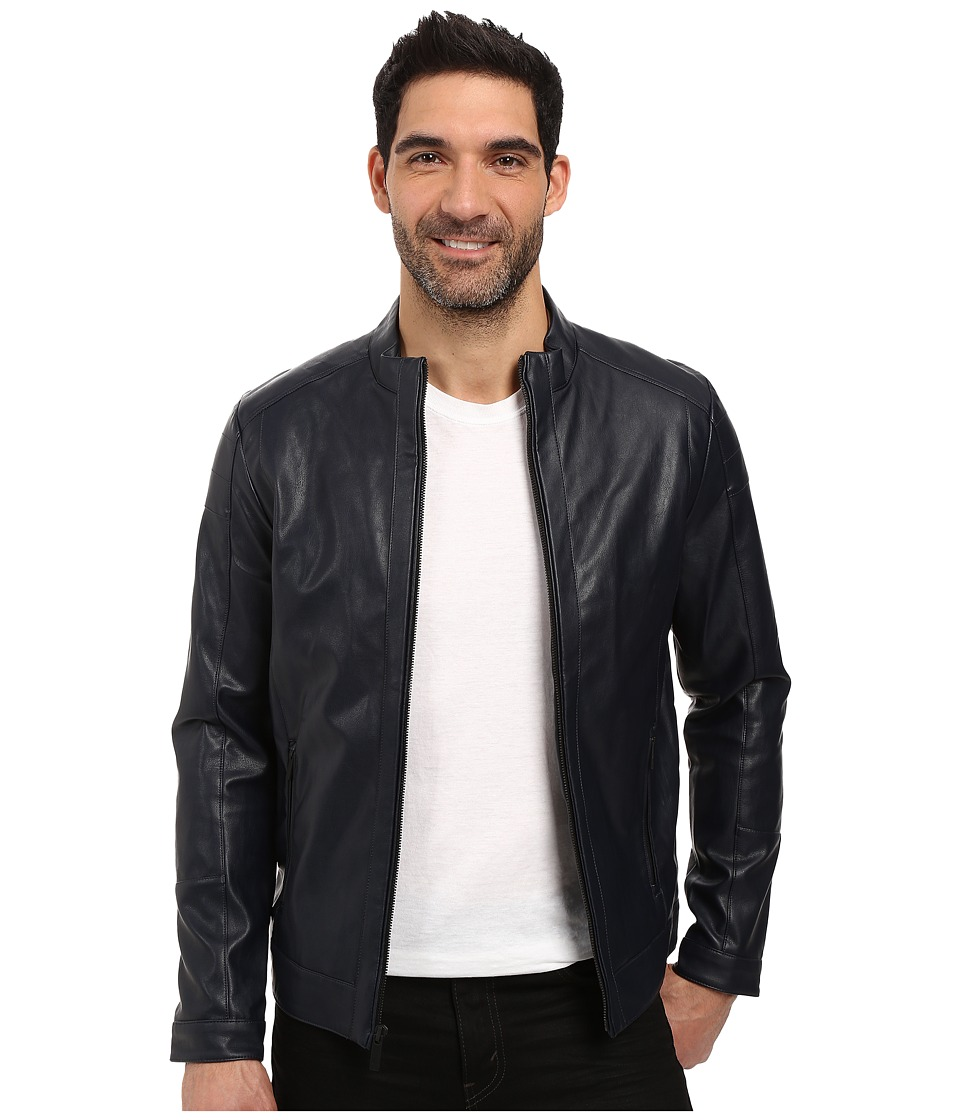 Calvin Klein - Faux Leather Jacket (Officer Navy) Men's Coat