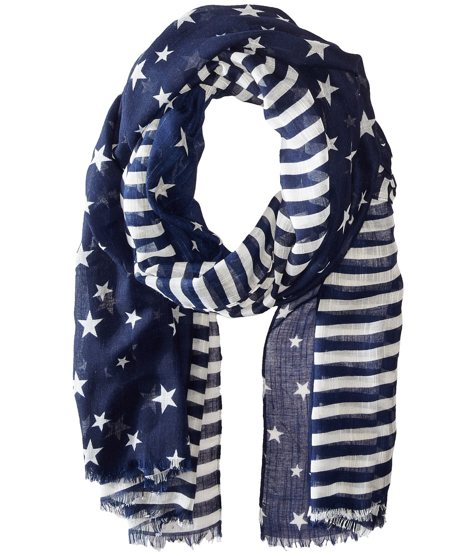Steve Madden - Two-Tone Stars and Bars Day Wrap (Navy) Scarves