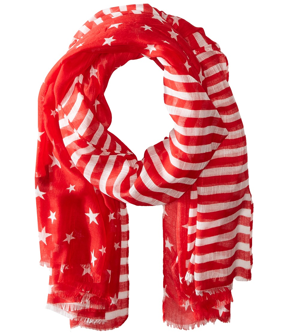 Steve Madden - Two-Tone Stars and Bars Day Wrap (Red) Scarves