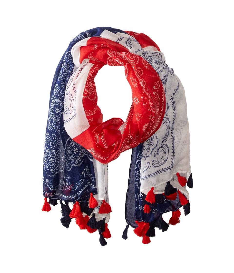 Steve Madden - Quilted Bandanas Day Wrap (Navy/Red) Scarves