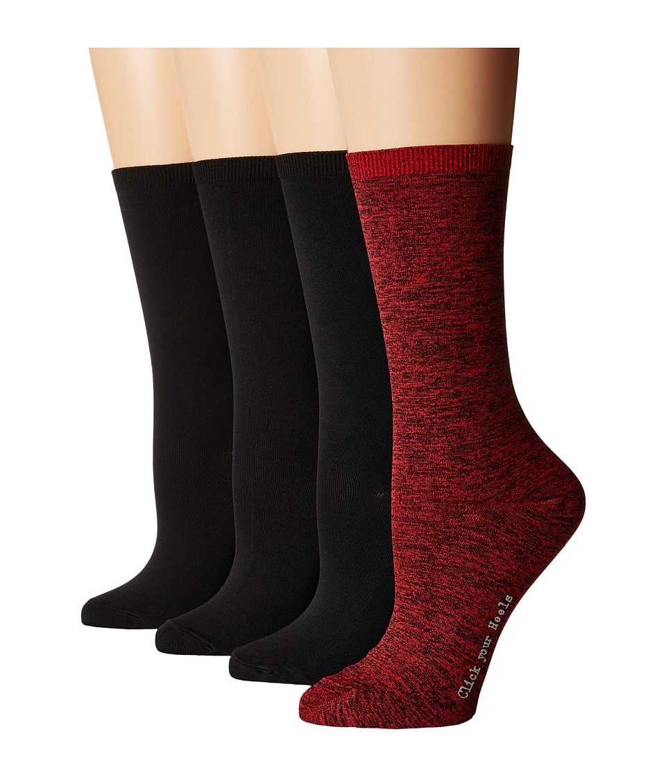 HUE - Body Socks 4-Pack (Deep Red Pack) Women's Crew Cut Socks Shoes